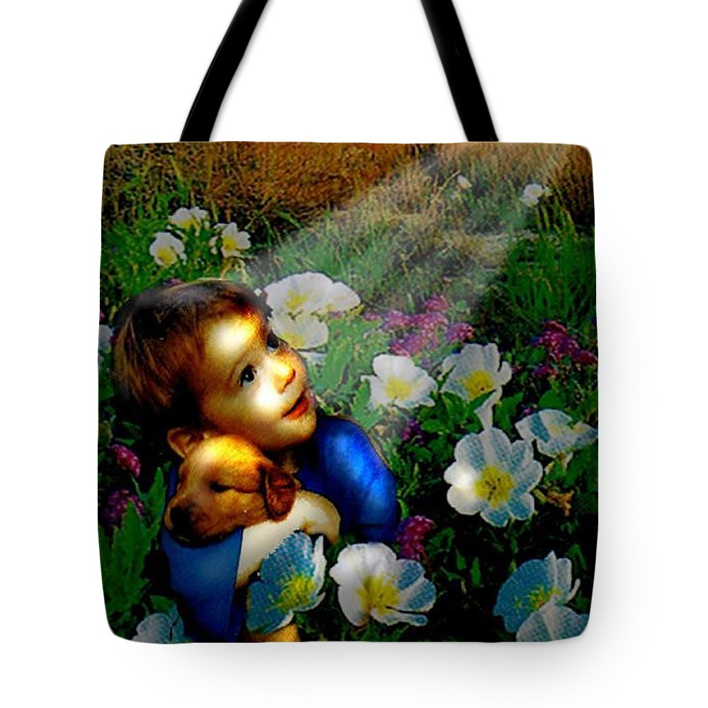 A Small Boy Loses His Puppy. Searches All Day. Finds Sick Puppy In The Rain. Now Both Are Lost Until Tote Bag featuring the digital art Little Dog Lost by Seth Weaver