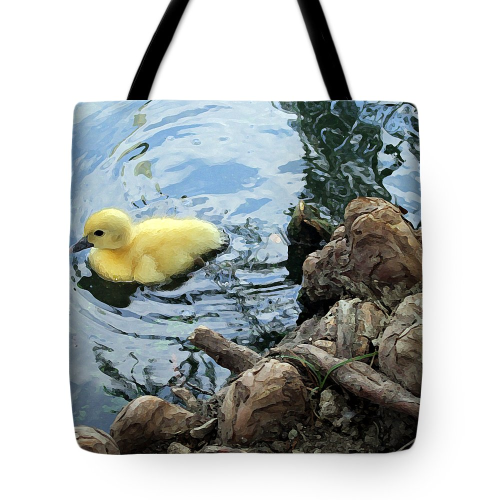 Duck Tote Bag featuring the photograph Little Ducky by Angelina Vick