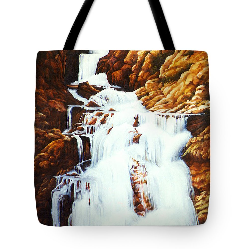 Waterfall Tote Bag featuring the painting Little Firehole Falls by Teri Rosario