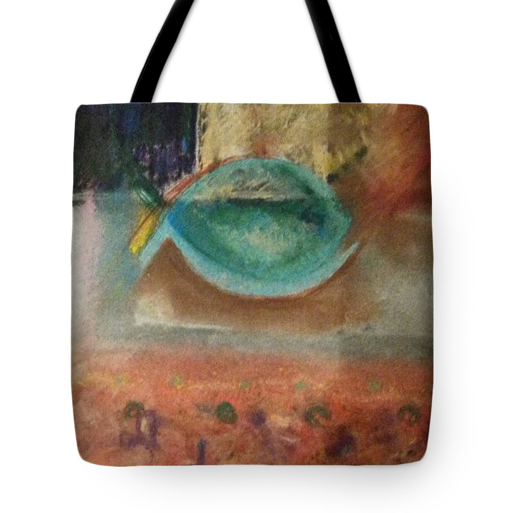 Abstract Tote Bag featuring the painting little fish Big Pond by Patty Mowatt