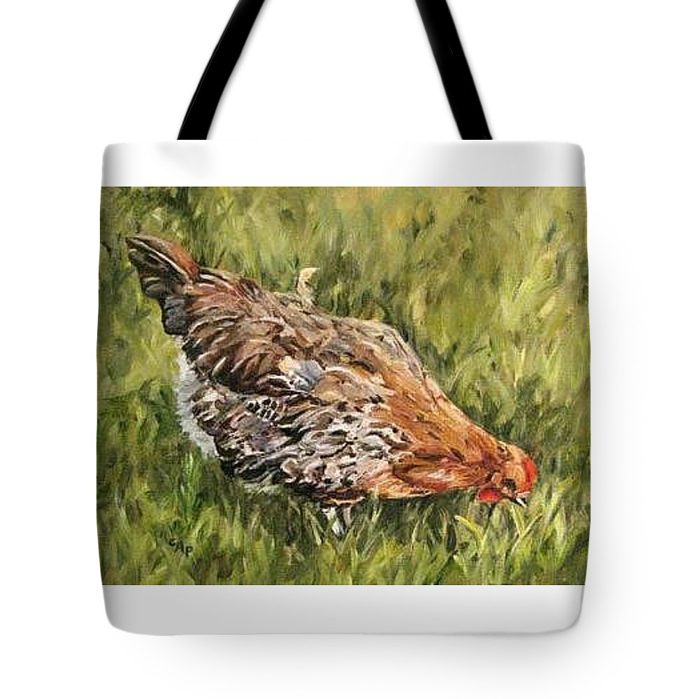 Chicken Tote Bag featuring the painting Little French Hen by Cheryl Pass