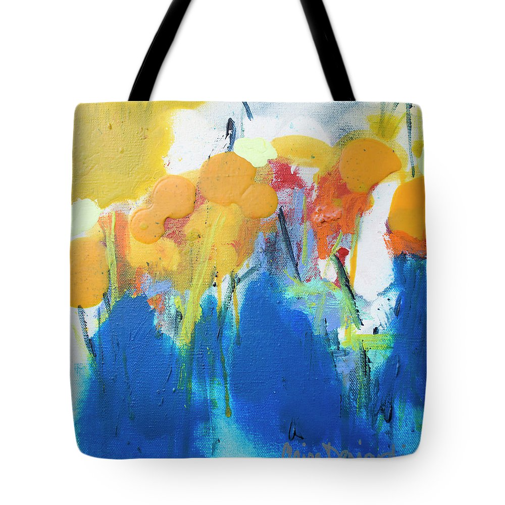 Abstract Tote Bag featuring the painting Little Garden 02 by Claire Desjardins