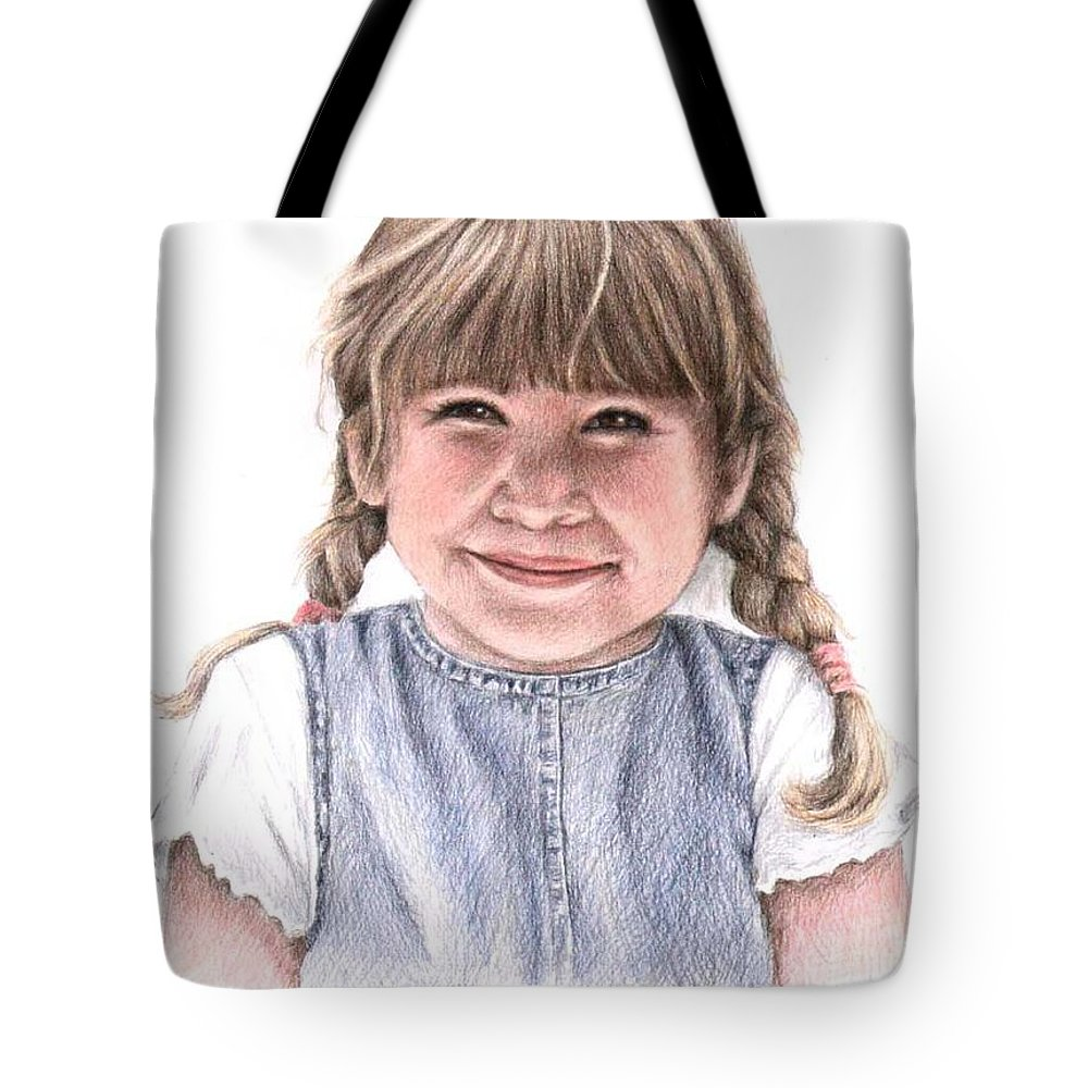 Girl Tote Bag featuring the drawing Little Girl by Nicole Zeug