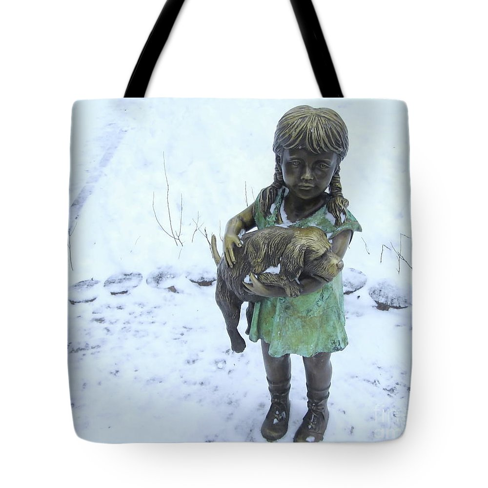 Decoration Tote Bag featuring the photograph Little Girl With A Puppy In Her Arms. by Kateryna Klymenko
