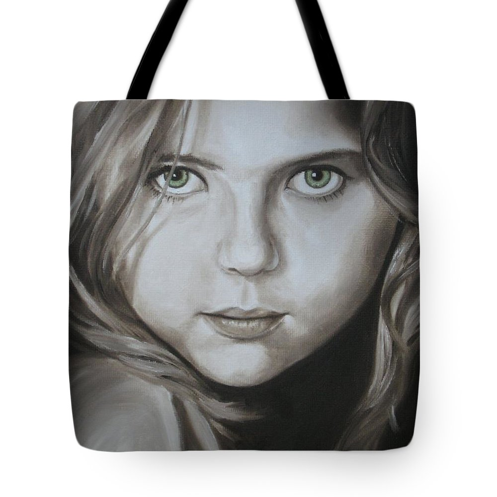 Portrait Tote Bag featuring the painting Little Girl With Green Eyes by Jindra Noewi