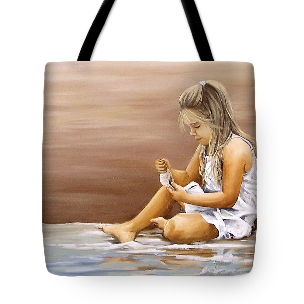 Children Girl Sea Shell Seascape Water Portrait Figurative Tote Bag featuring the painting Little Girl With Sea Shell by Natalia Tejera