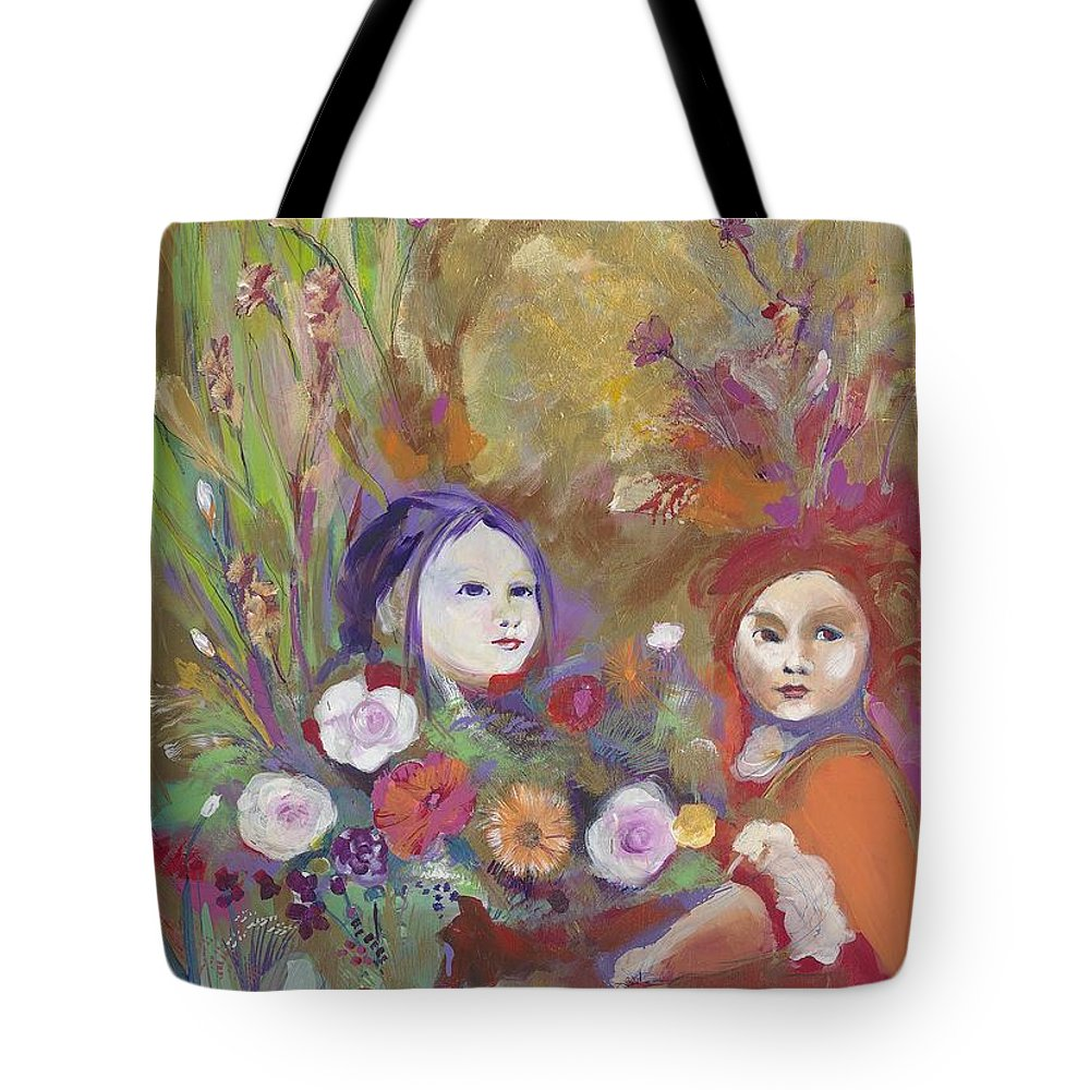 Playing Tote Bag featuring the painting Little Girls by Michael Clifford Shpack