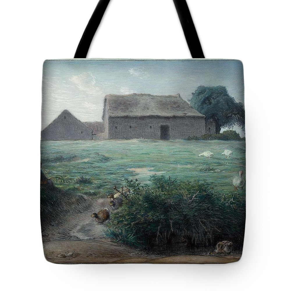 Little Goose Girl 1868 Jean-fran�ois Millet (french Tote Bag featuring the painting Little Goose Girl by MotionAge Designs
