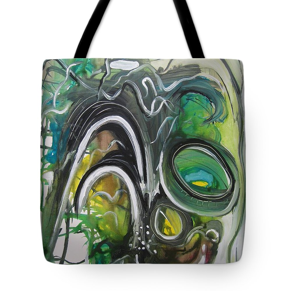 Abstract Paintings Tote Bag featuring the painting little impression on Alexander trail by Seon-Jeong Kim