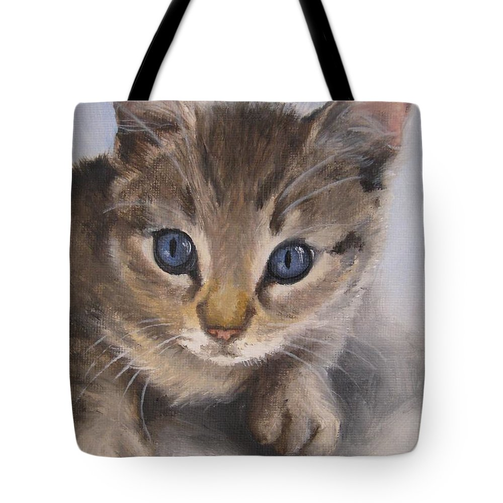 Noewi Tote Bag featuring the painting Little Kitty by Jindra Noewi