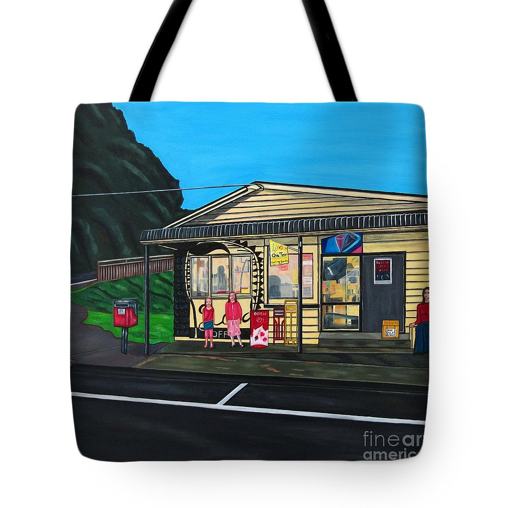Buildings Tote Bag featuring the painting Little Oneroa Store by Sandra Marie Adams