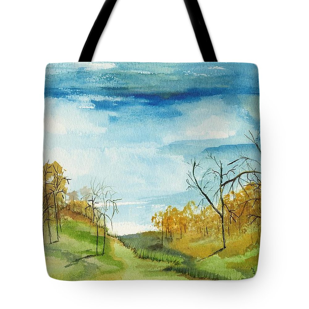 Watercolor Tote Bag featuring the painting Little Path by Carol Sweetwood