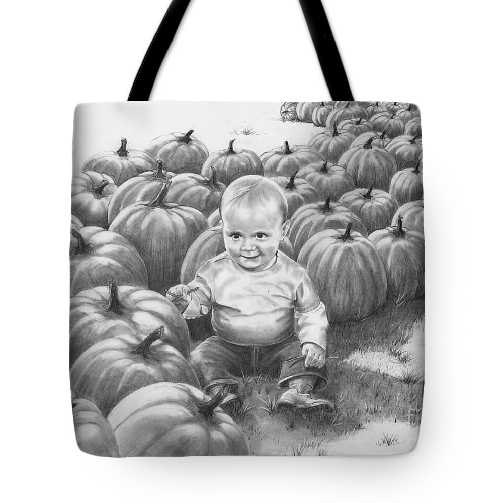 Charity Tote Bag featuring the drawing Little Pumpkin by Murphy Elliott