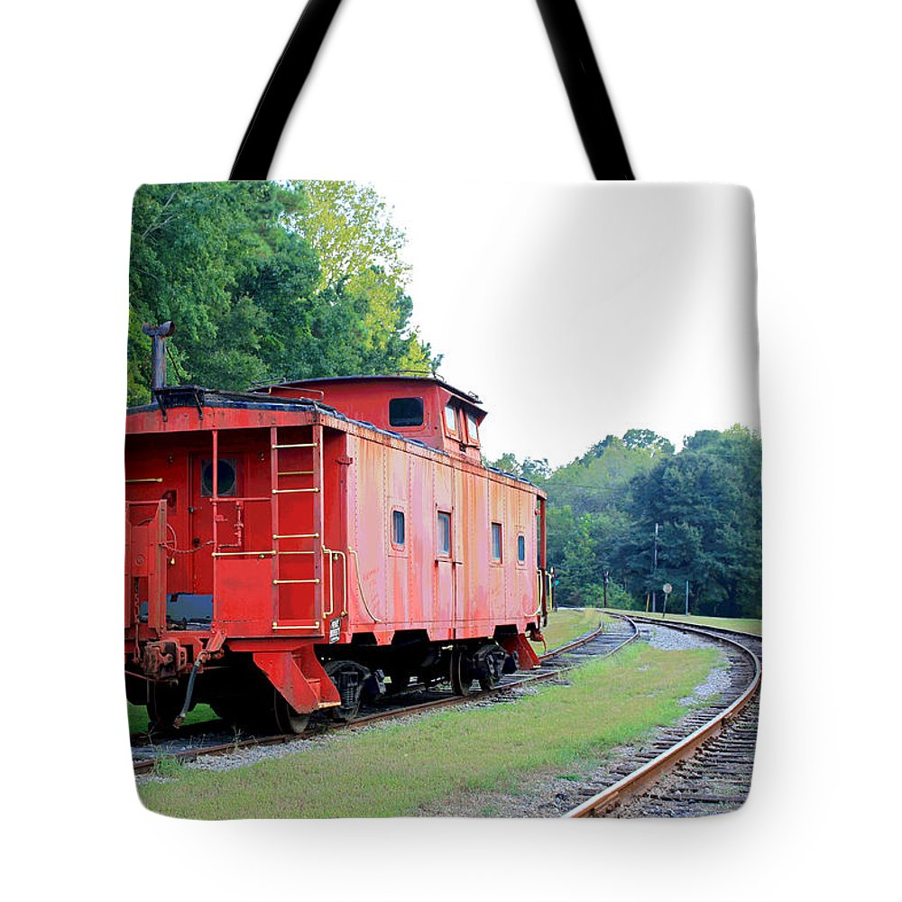 Caboose Tote Bag featuring the photograph Little Red Caboose Enhanced by Suzanne Gaff