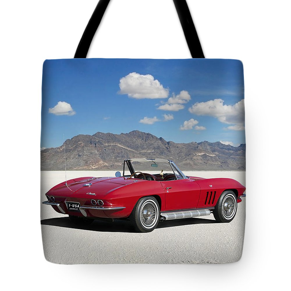 a989ba74735a Chevrolet Tote Bag featuring the digital art Little Red Corvette by Peter  Chilelli