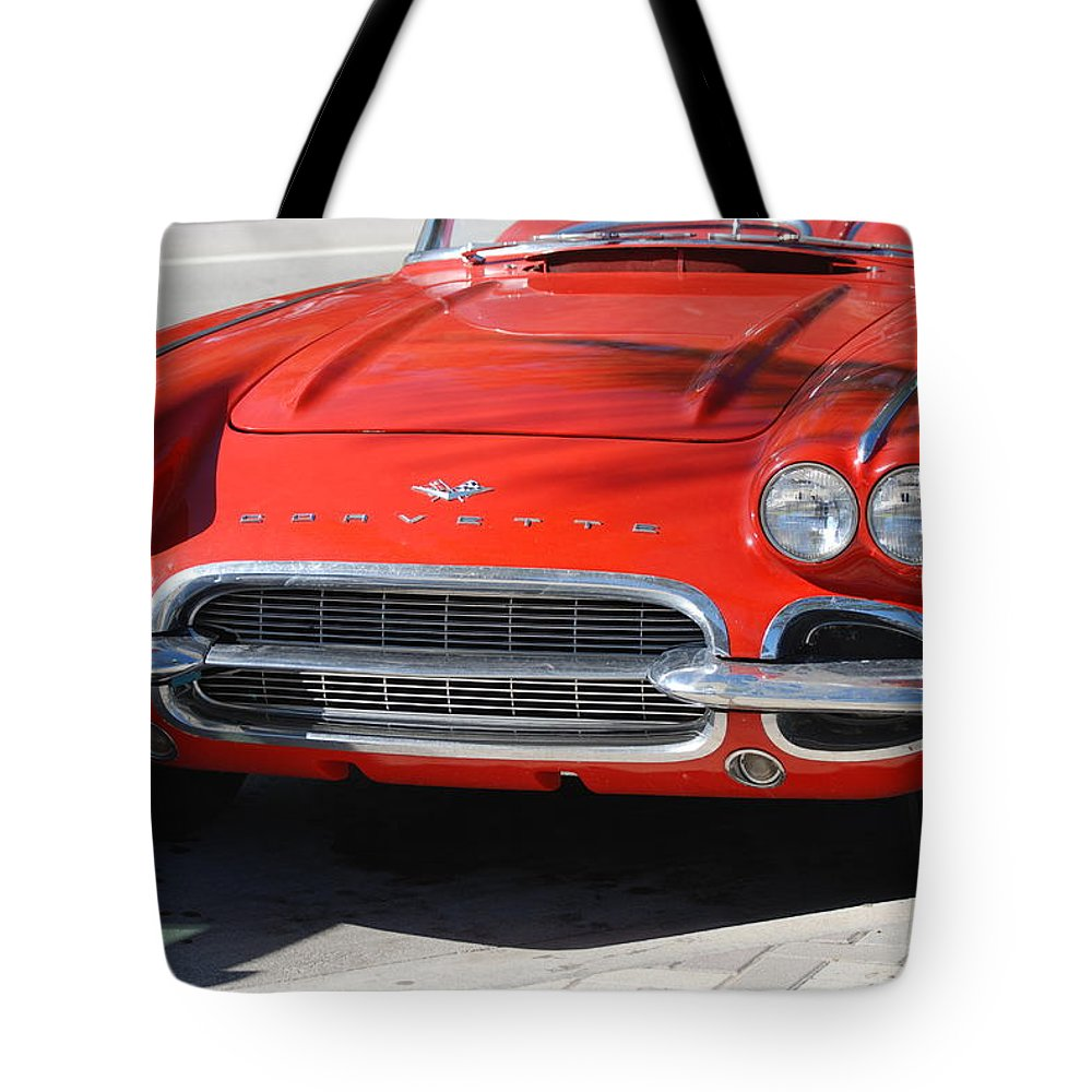 Corvette Tote Bag featuring the photograph Little Red Corvette by Rob Hans