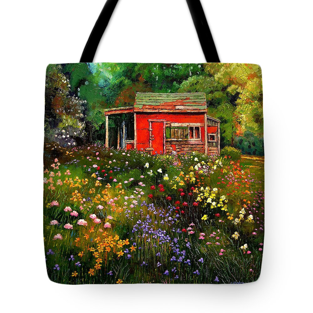 Flower Garden Tote Bag featuring the painting Little Red Flower Shed by John Lautermilch
