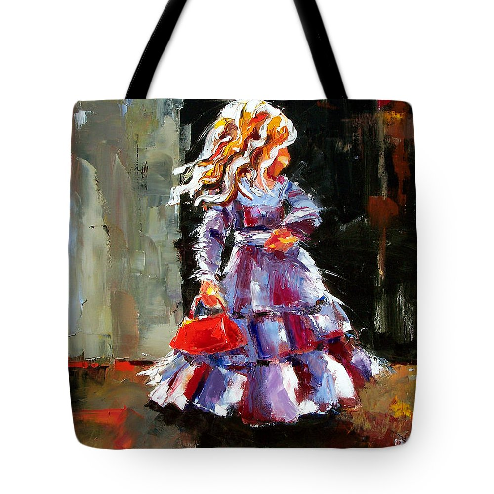 Girl Tote Bag featuring the painting Little Red Purse by Debra Hurd