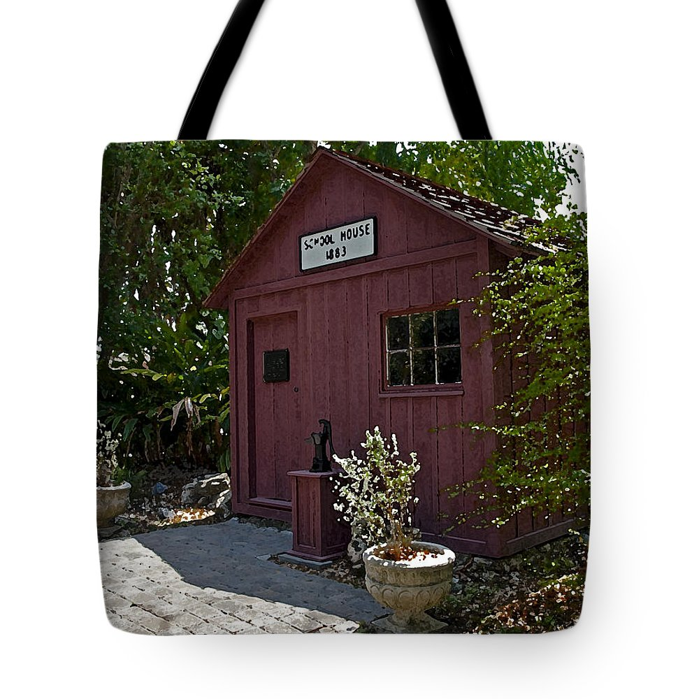 Little Tote Bag featuring the painting Little Red Schoolhouse Three by Allan Hughes