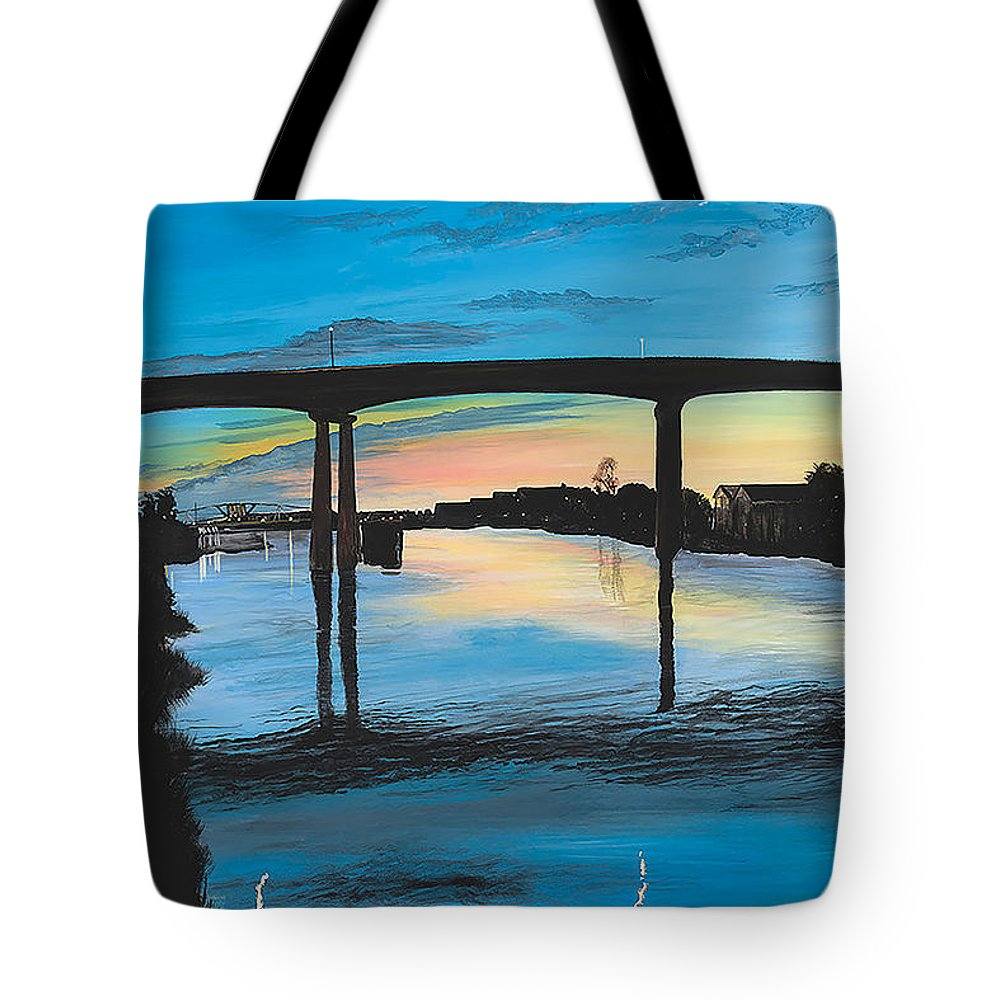 Sunset Tote Bag featuring the painting Little River Waterfront by Donna Mann