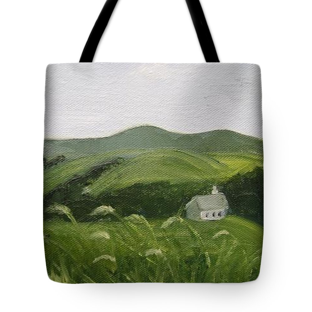 Landscape Tote Bag featuring the painting Little Schoolhouse On The Hill by Toni Berry