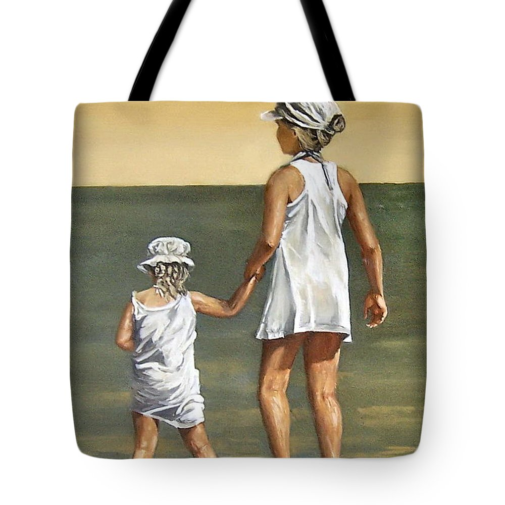 Little Girl Reflection Girls Kids Figurative Water Sea Seascape Children Portrait Tote Bag featuring the painting Little Sisters by Natalia Tejera