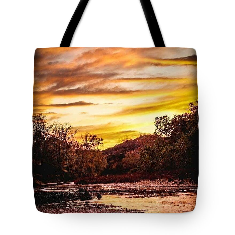 Landscape Tote Bag featuring the photograph Little Sugar Creek Sunset by Sunshine Nelson