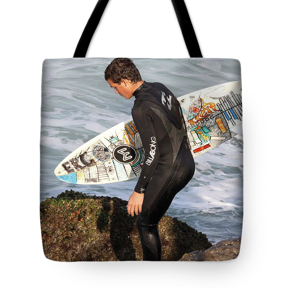 Surfer Tote Bag featuring the photograph Little Surfer Dude by Deborah Benoit