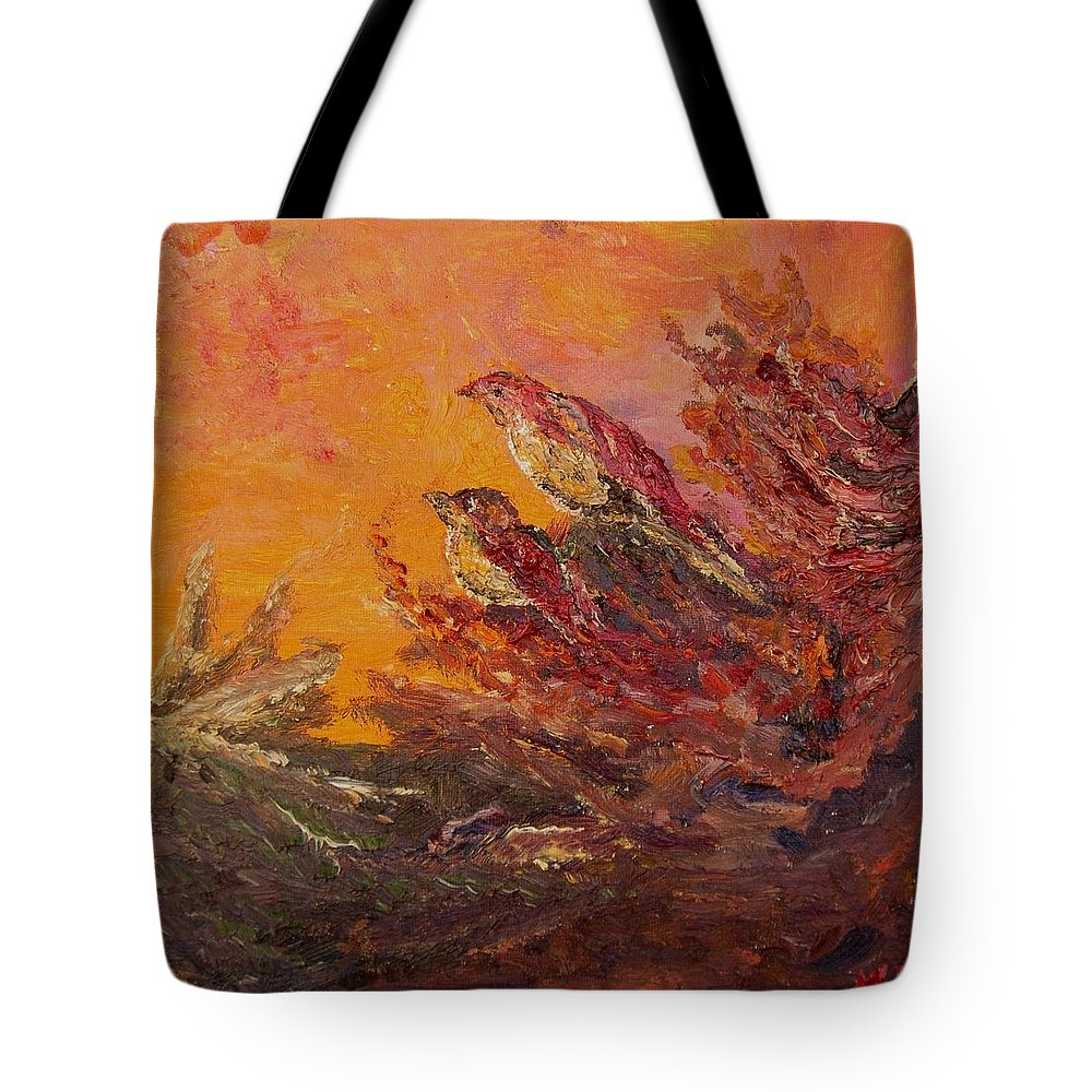 Little Thicket Birds Nature Trees Bush Fantasy Good Mood Wild Tote Bag featuring the painting Little Thicket by Karina Ishkhanova
