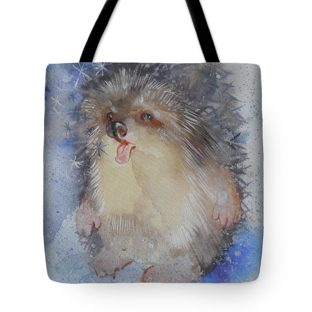 Hedgehog Tote Bag featuring the painting Little Tongue by Zoe Kaveshnikova
