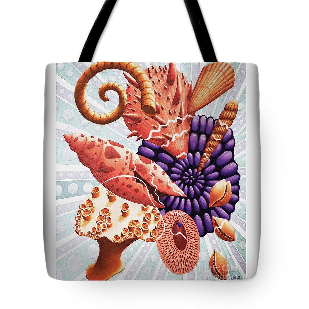 Shells Tote Bag featuring the painting Little Treasures by Rachel Van Balen