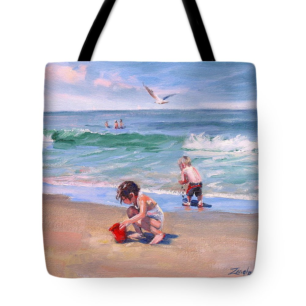 Seascape Tote Bag featuring the painting Little Tykes by Laura Lee Zanghetti