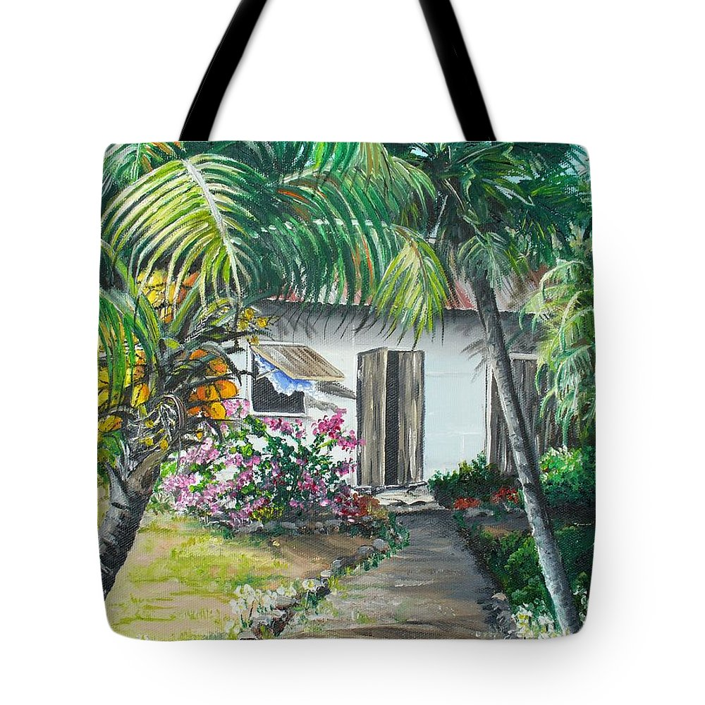 Caribbean Painting Typical Country House In Trinidad And The Islands With Coconut Tree Tropical Painting Tote Bag featuring the painting Little West Indian House 2...sold by Karin Dawn Kelshall- Best