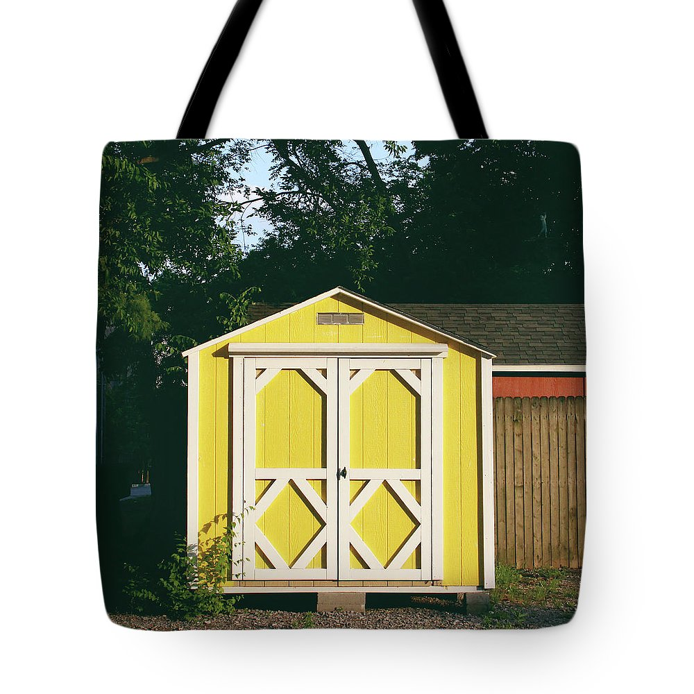 Barn Tote Bag featuring the photograph Little Yellow Barn- By Linda Woods by Linda Woods