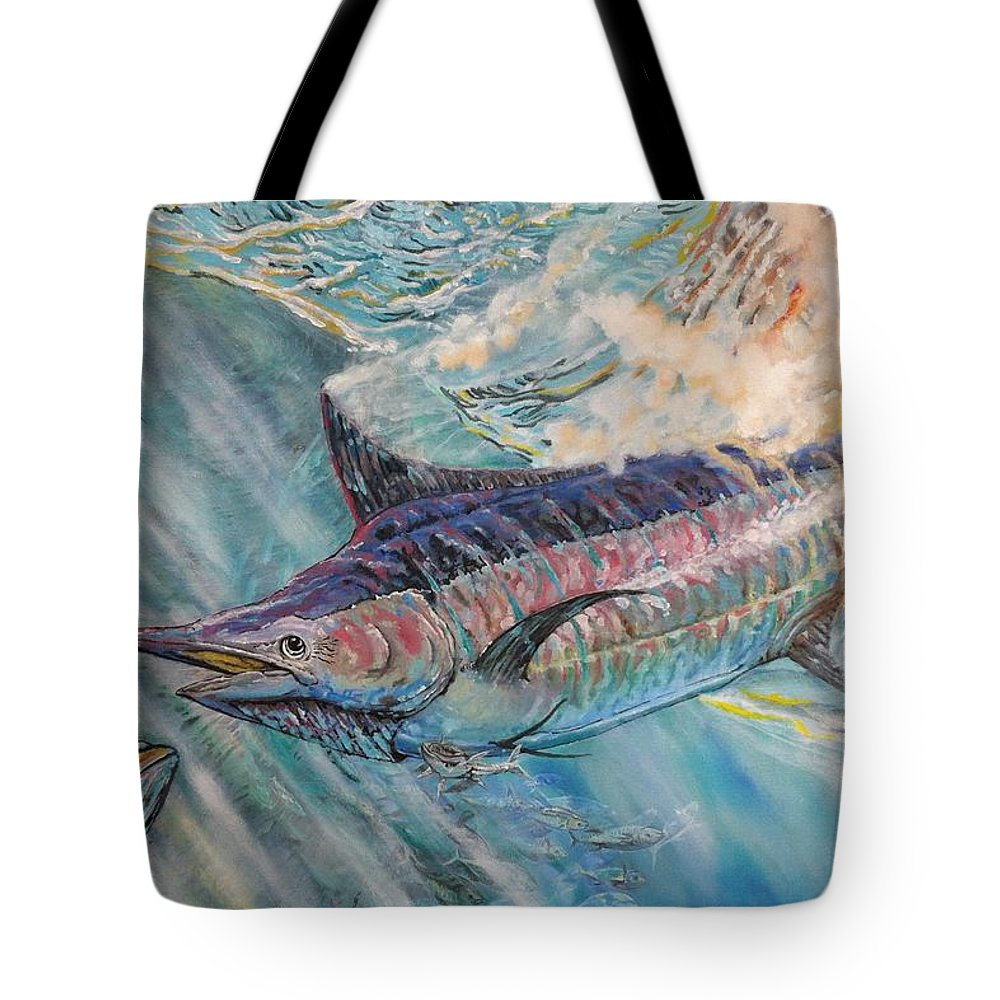 Live Bait Or Lunch Tote Bag featuring the painting Live Bait by Minamoto Yoshida
