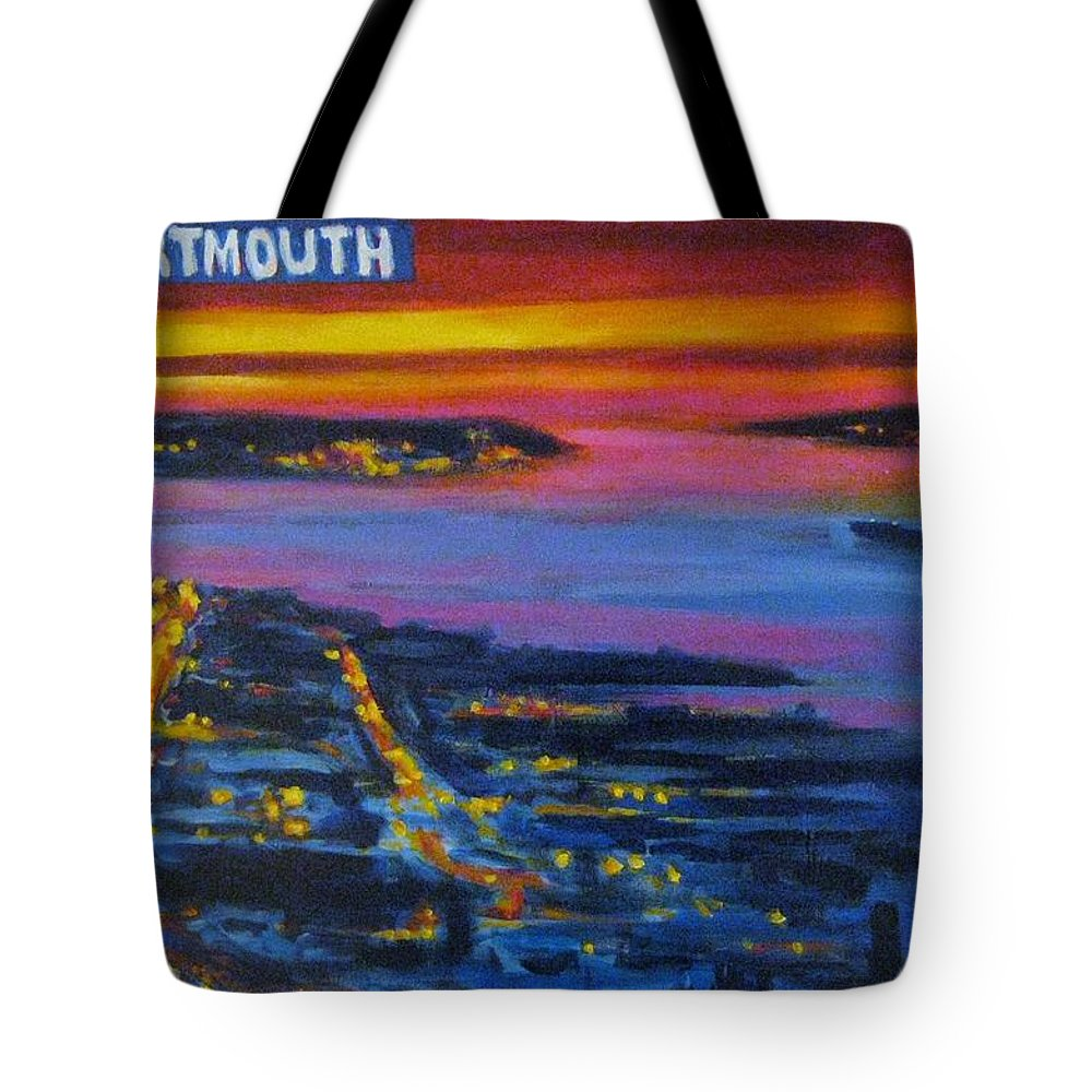 Night Scenes Tote Bag featuring the painting Live Eye Over Dartmouth Ns by John Malone