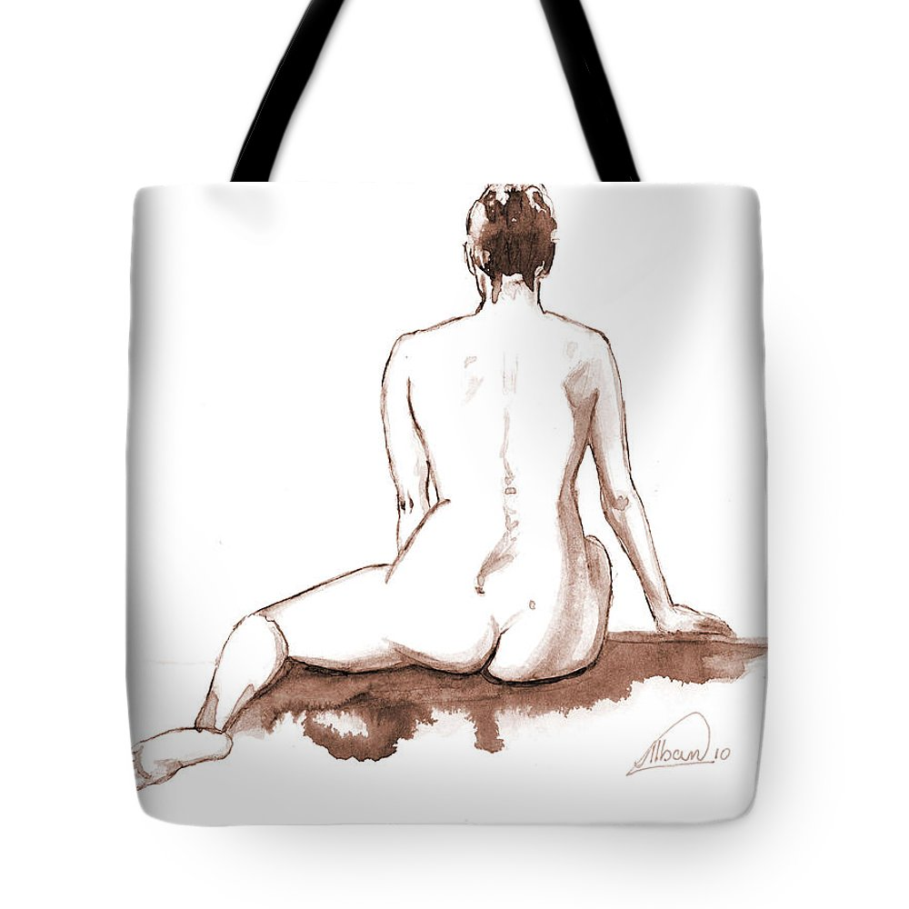 Nude Tote Bag featuring the painting Live Model Figure  by Alban Dizdari