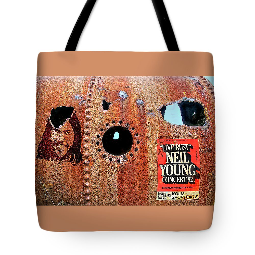 Neil Young Tote Bag featuring the photograph Live Rust, Neil Young by Mal Bray
