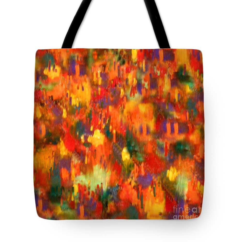 Anne Alfaro Tote Bag featuring the painting Lively Village by Anne Alfaro