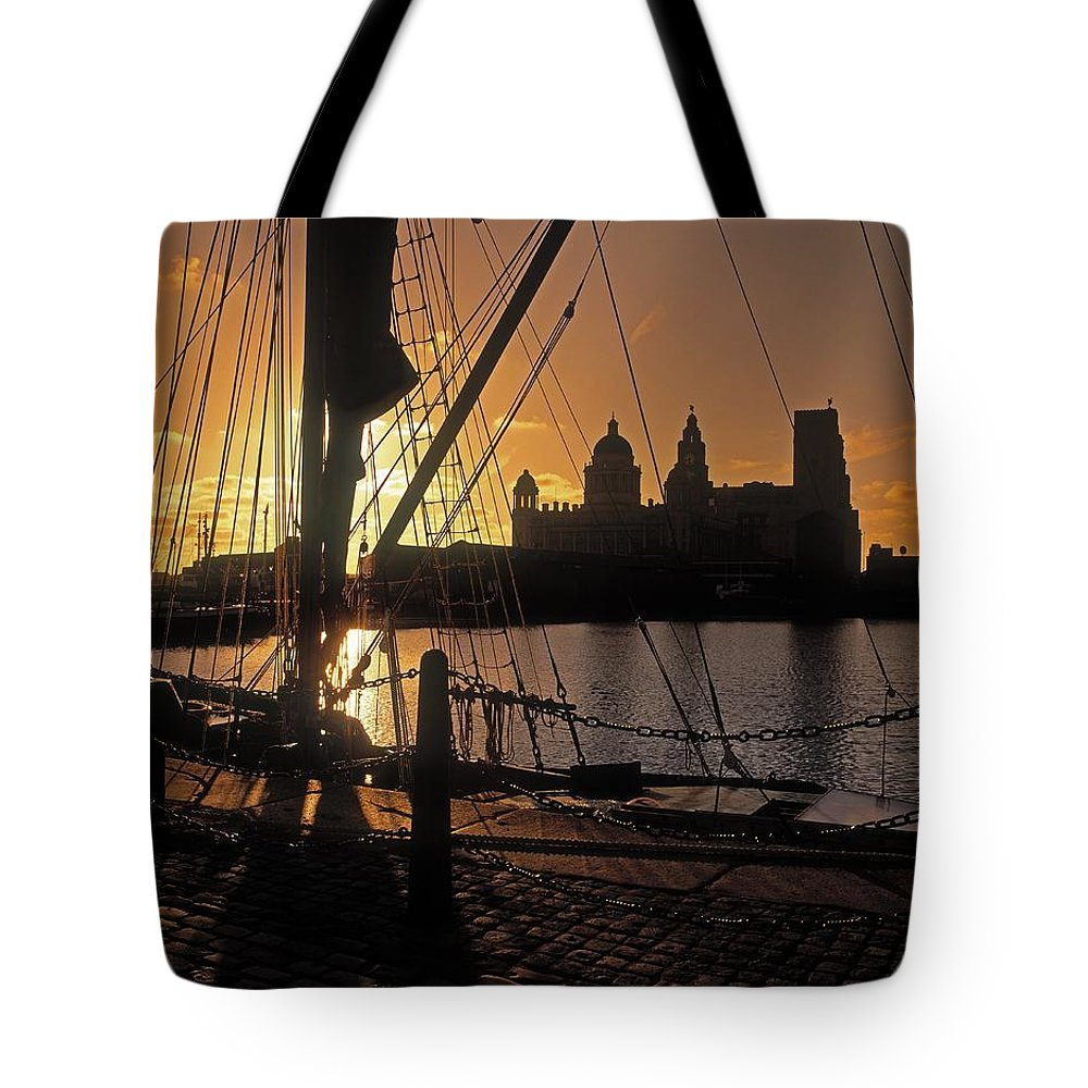 Architecture Tote Bag featuring the photograph Liverpool, England View From Albert Dock by The Irish Image Collection