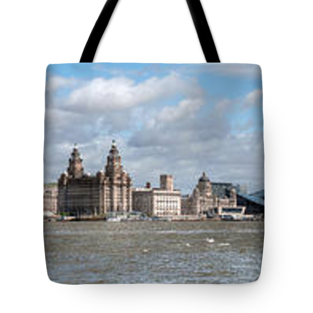 Liverpool Waterfront Tote Bag featuring the photograph Liverpool Panoramic View by Steve H Clark Photography