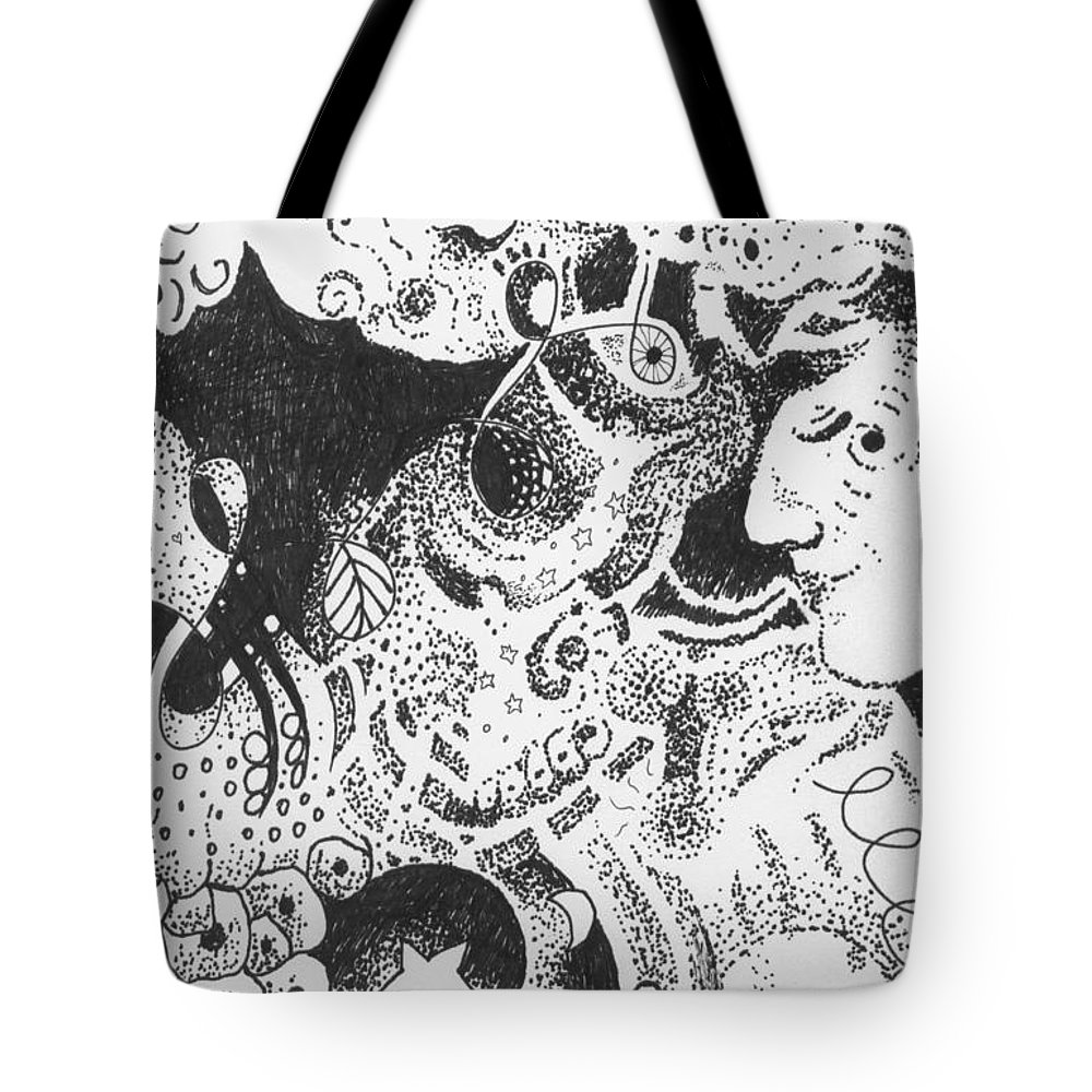 Kiss Of Life Tote Bag featuring the drawing Living And Loving by Helena Tiainen