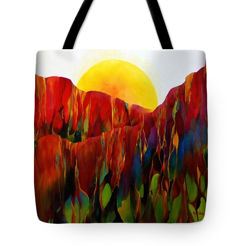 Oil Tote Bag featuring the painting Living Earth by Peggy Guichu