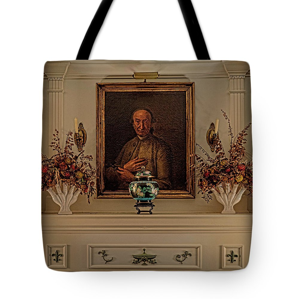 Interiors Tote Bag featuring the photograph Living Room Mantle Display - 1 by Frank Maxwell