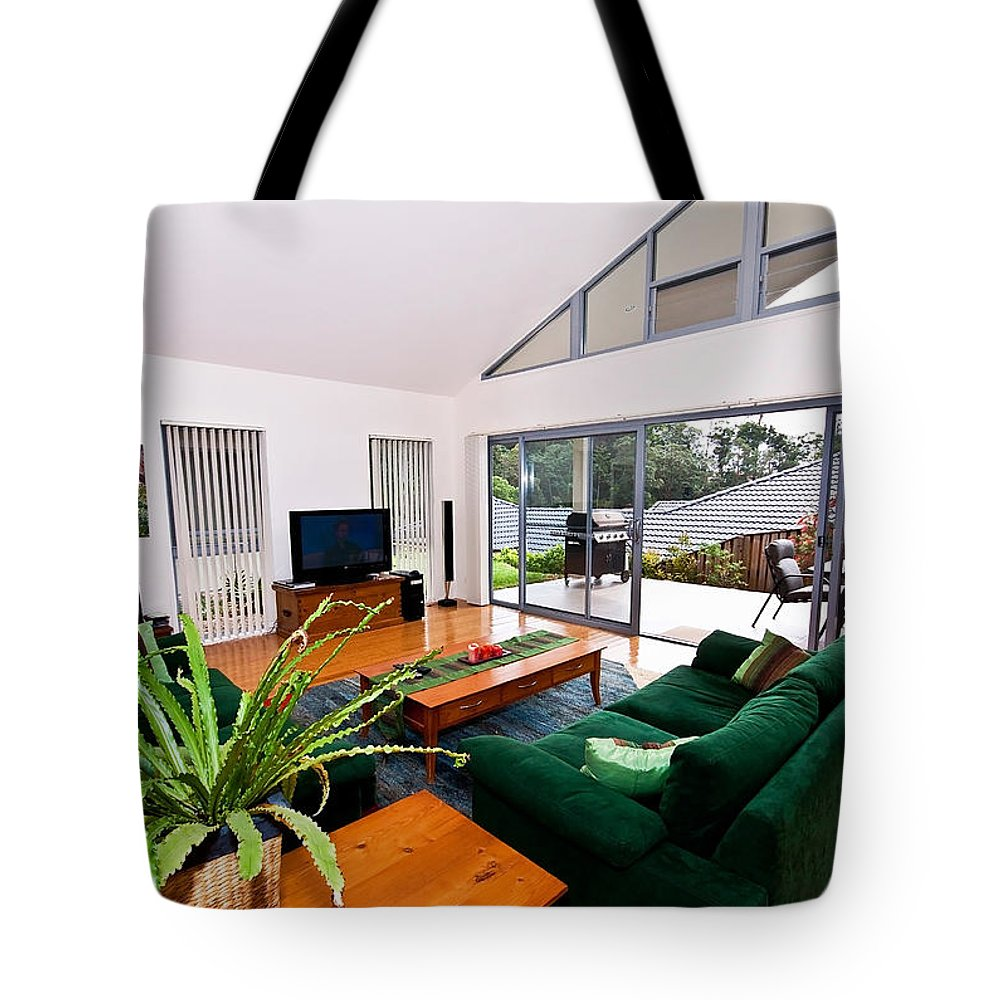 Slanted Tote Bag featuring the photograph Living Room With Slanted Ceiling by Darren Burton