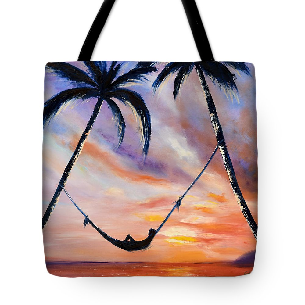 Sunset Tote Bag featuring the painting Living The Dream by Gina De Gorna