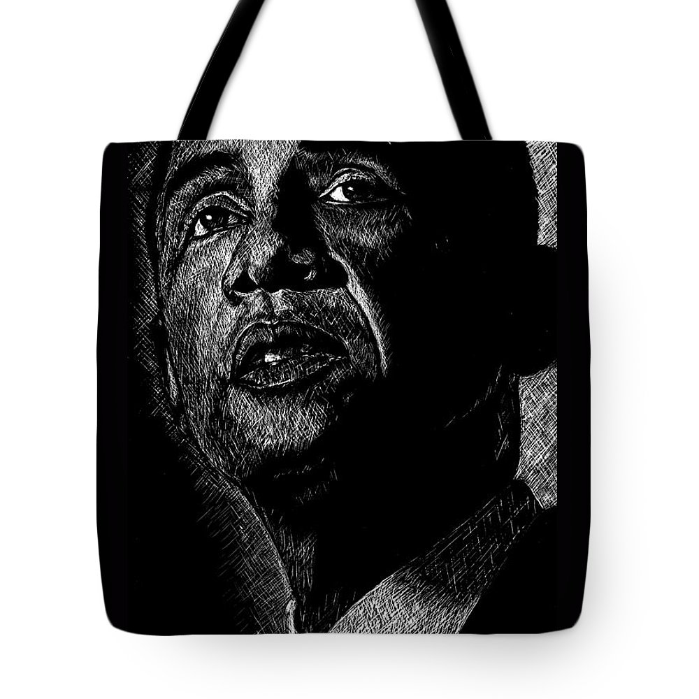 Barack Obama Tote Bag featuring the drawing Living The Dream by Maria Arango