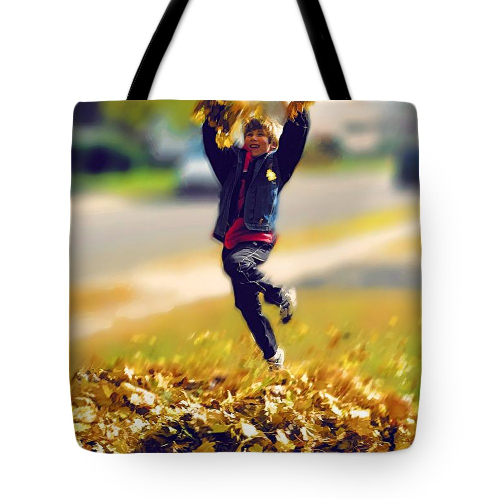 Autumn Tote Bag featuring the photograph Living Through My Kids by Jeff Breiman