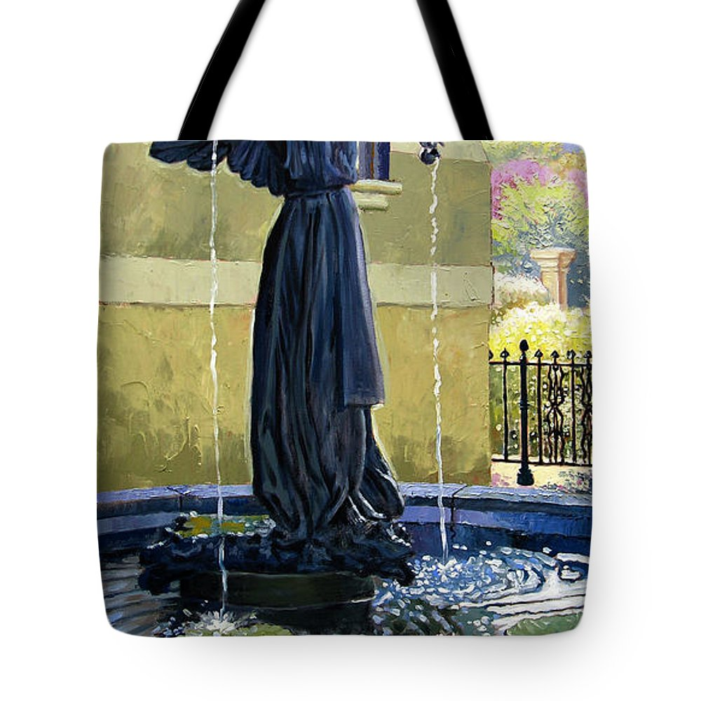 Garden Fountain Tote Bag featuring the painting Living Waters by John Lautermilch