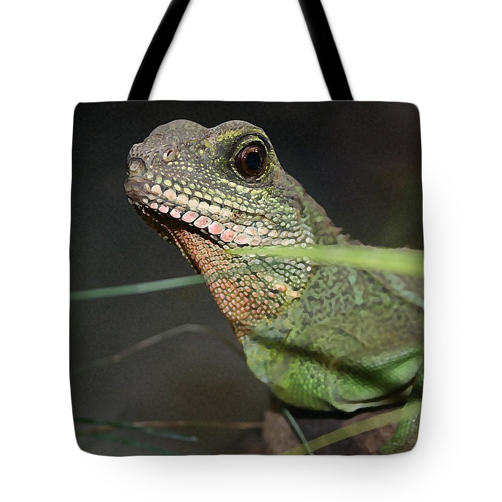 Lizard Tote Bag featuring the photograph Lizzie by Mary Haber